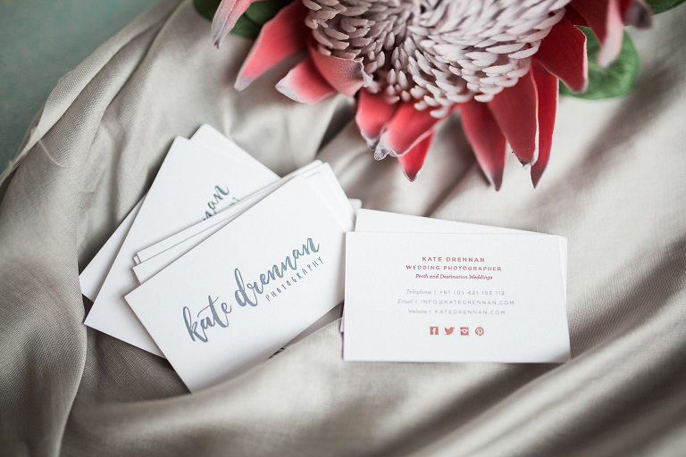 New letterpress rose gold foil business cards kate drennan letterpress rose gold foil business cards for perth photographer kate drennan reheart Choice Image