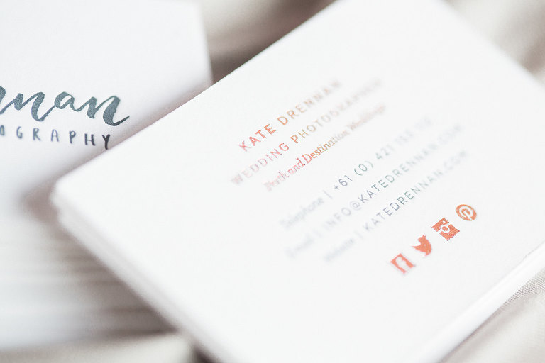 New letterpress rose gold foil business cards kate drennan kate drennan photography perth wedding photographer letterpress rose reheart Gallery