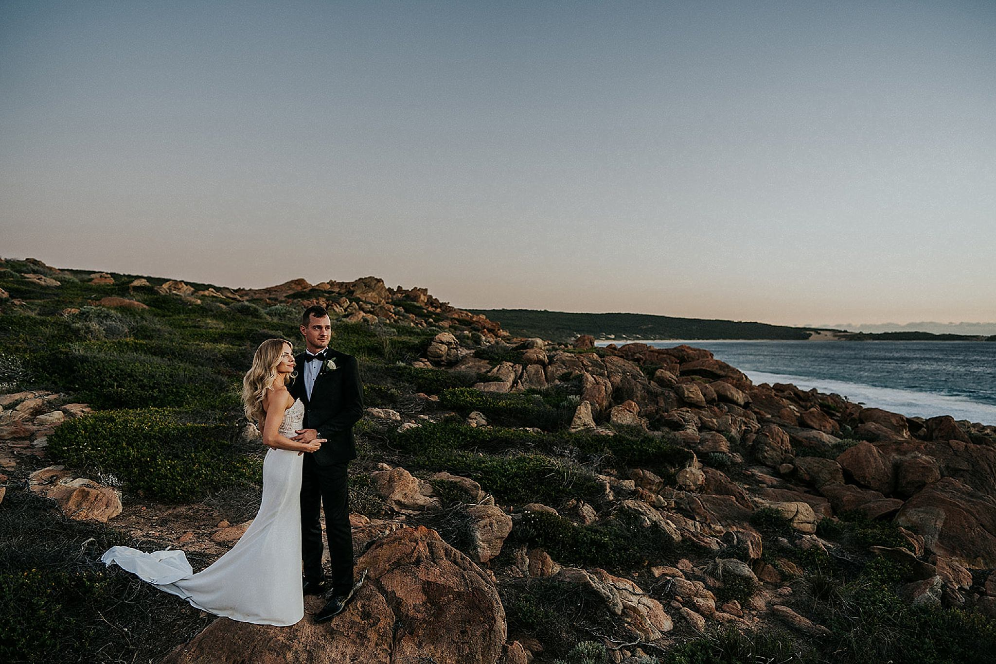 Injidup Spa Wedding photos for Asha and Tristan's Credaro Wines Wedding. Wedding dress by Bridal By Aubrey Rose, Veil Harriette Gordon bouquet De La Terre and Leave Her Wilder Bridesmaids.